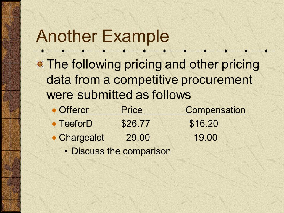 Another Example The following pricing and other pricing data from a competitive procurement were submitted as follows.