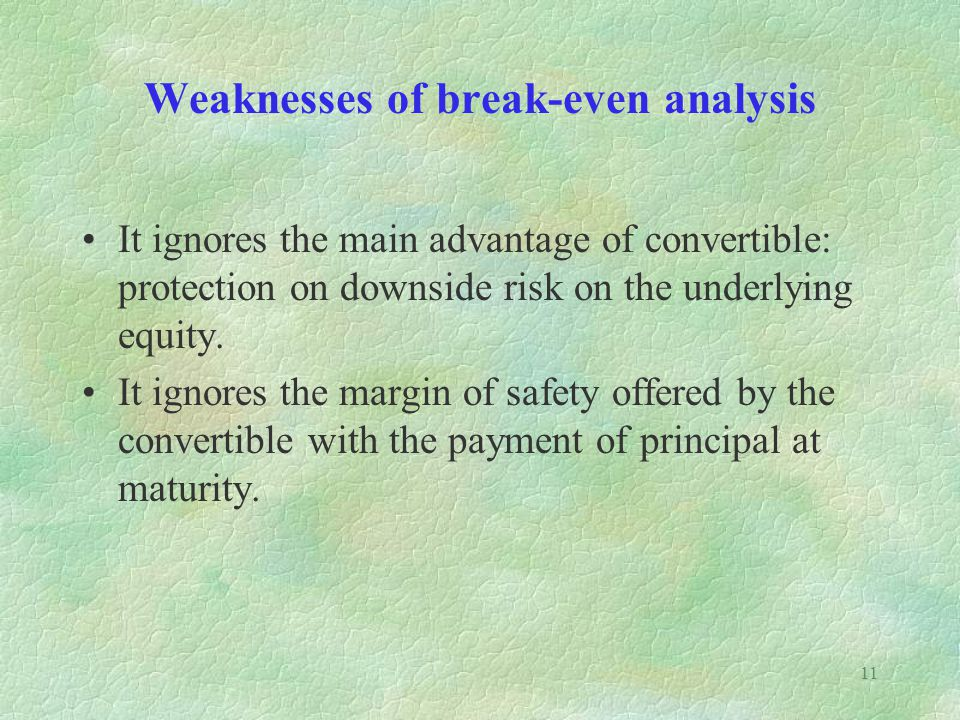 Weaknesses of break-even analysis