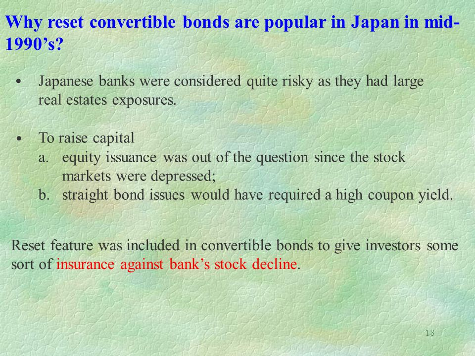 Why reset convertible bonds are popular in Japan in mid-1990's