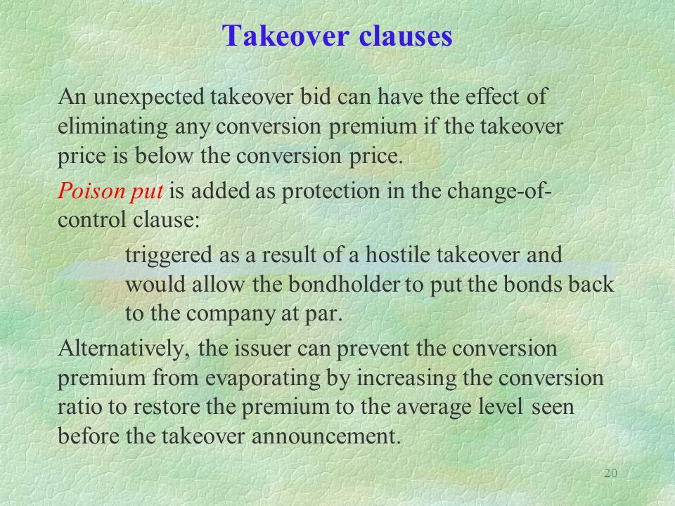 Takeover clauses