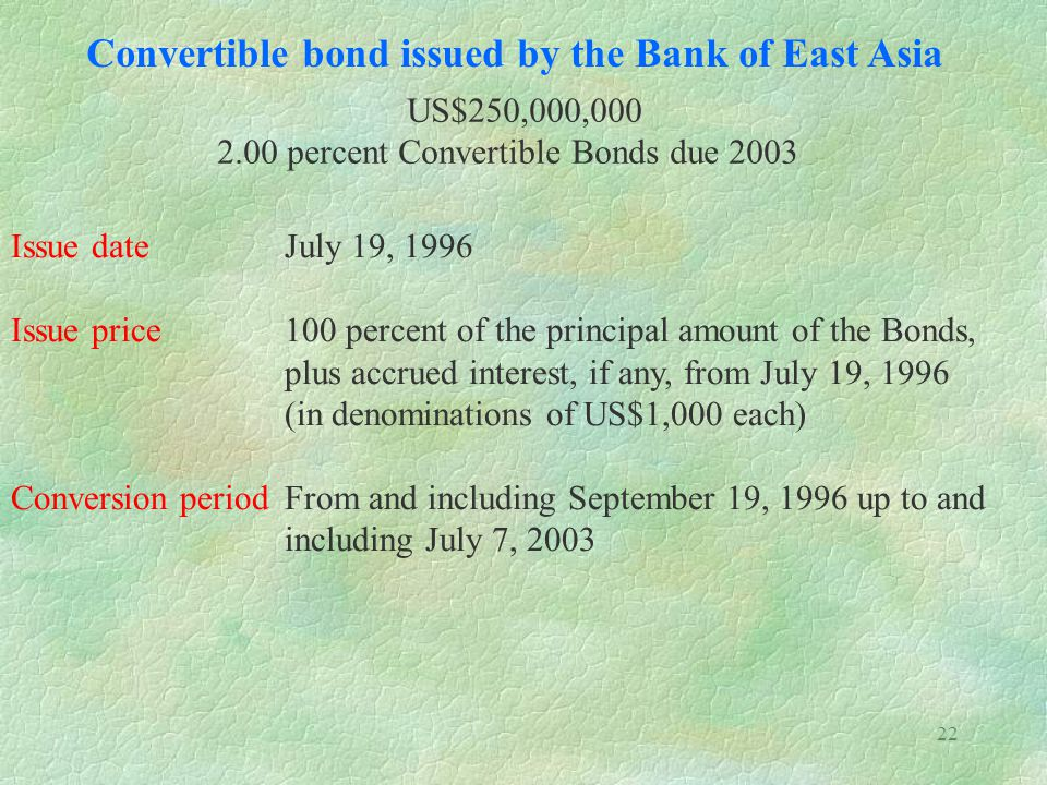 Convertible bond issued by the Bank of East Asia