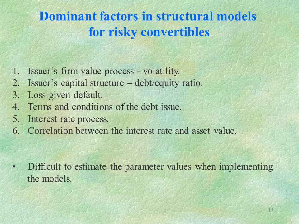Dominant factors in structural models for risky convertibles