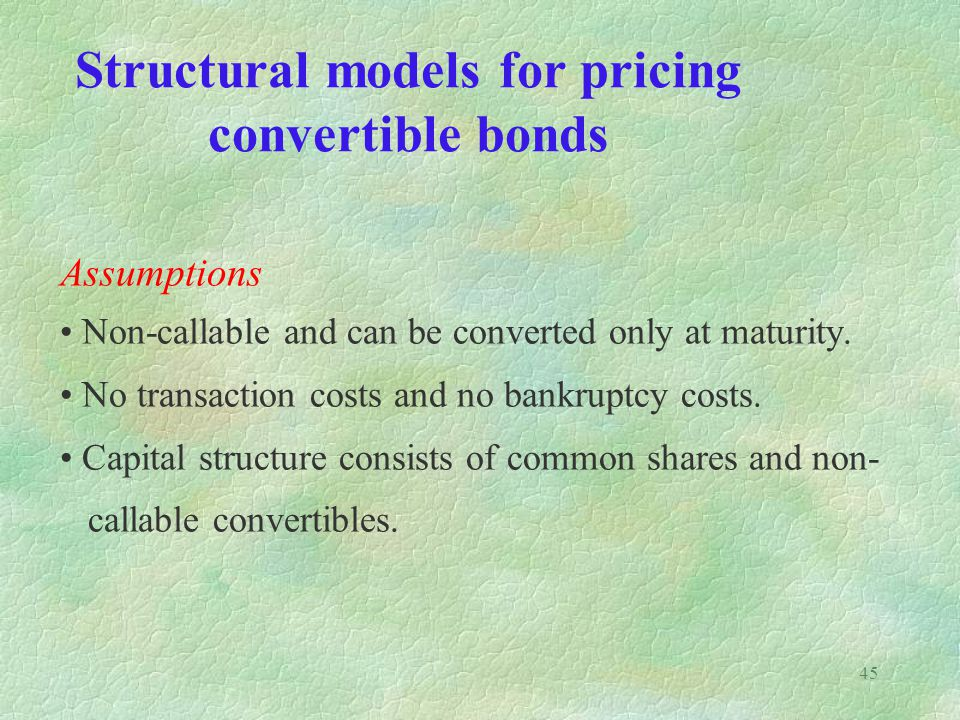 Structural models for pricing convertible bonds