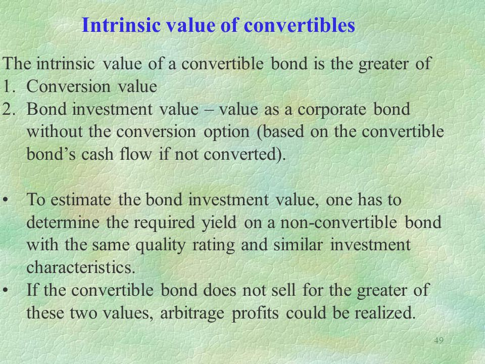 Intrinsic value of convertibles