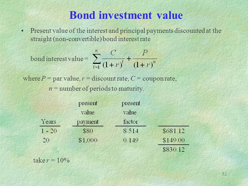 Bond investment value Present value of the interest and principal payments discounted at the straight (non-convertible) bond interest rate.