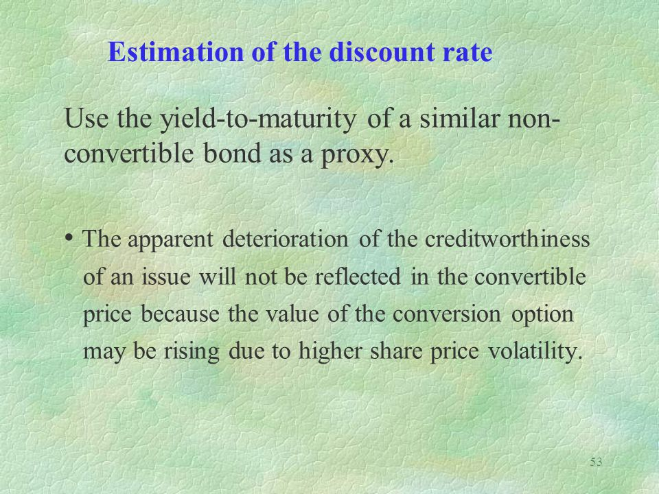 Estimation of the discount rate