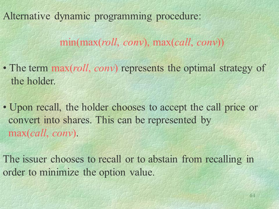 Alternative dynamic programming procedure: