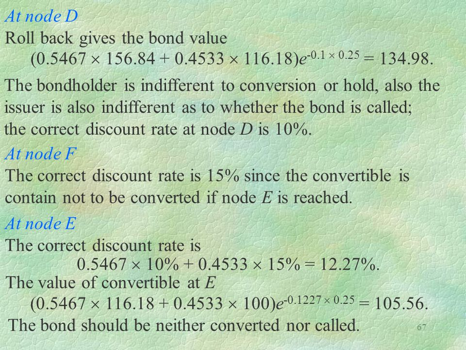 At node D Roll back gives the bond value. (0.5467  156.84 + 0.4533  116.18)e-0.1  0.25 = 134.98.
