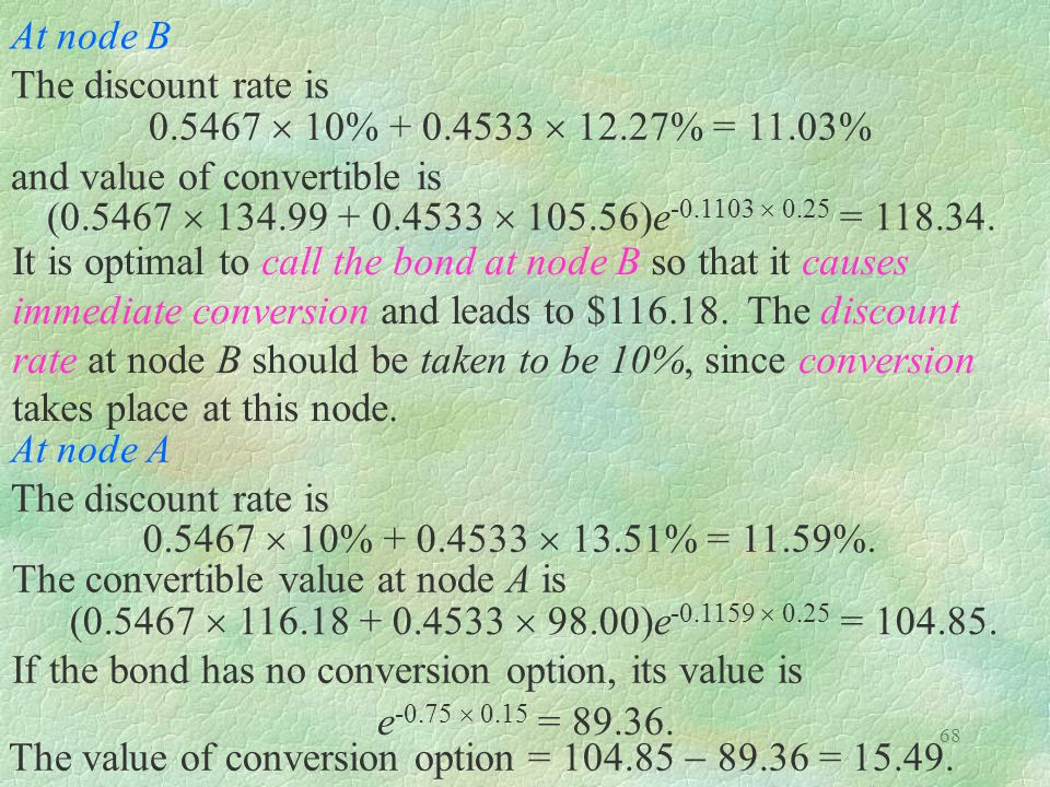 At node B The discount rate is. 0.5467  10% + 0.4533  12.27% = 11.03% and value of convertible is.