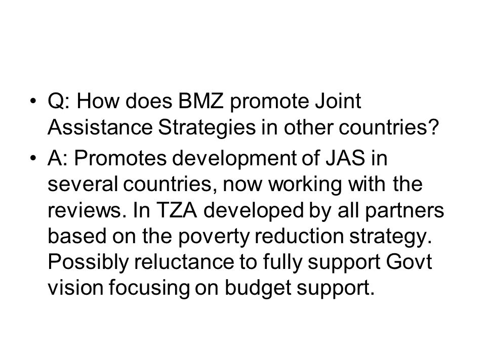 Q: How does BMZ promote Joint Assistance Strategies in other countries