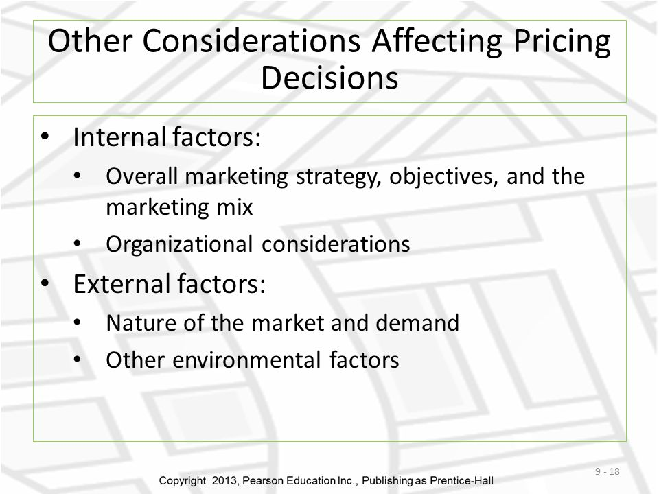 Other Considerations Affecting Pricing Decisions