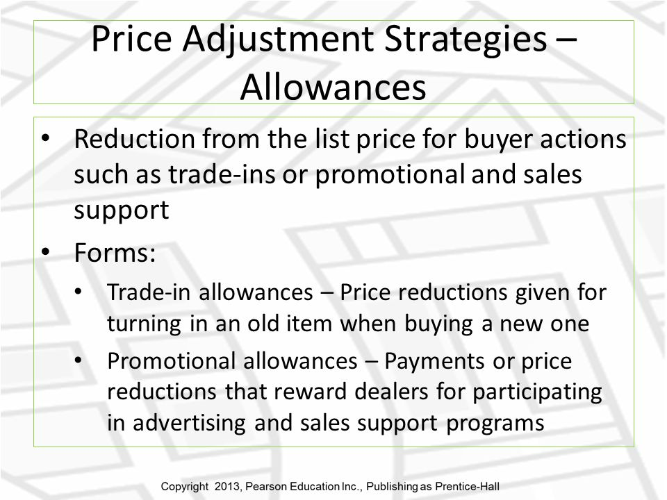 Price Adjustment Strategies – Allowances