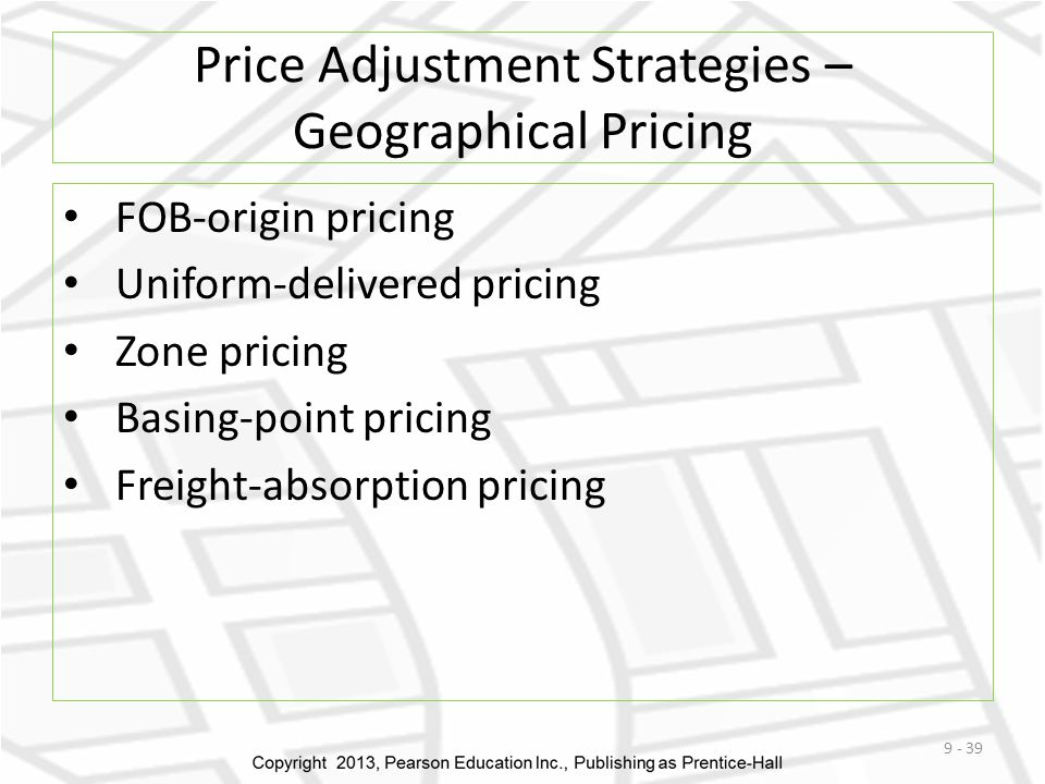 Price Adjustment Strategies – Geographical Pricing