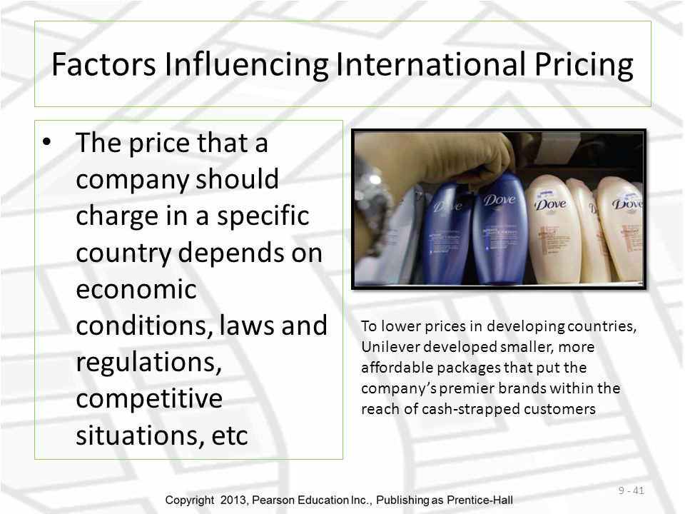factors influencing international pricing International trade helps keep prices low and low  market skimming charging a  premium price may occur at the introduction stage of product life  that affect  pricing decisions are dumping  recognizes that several factors are relevant to .