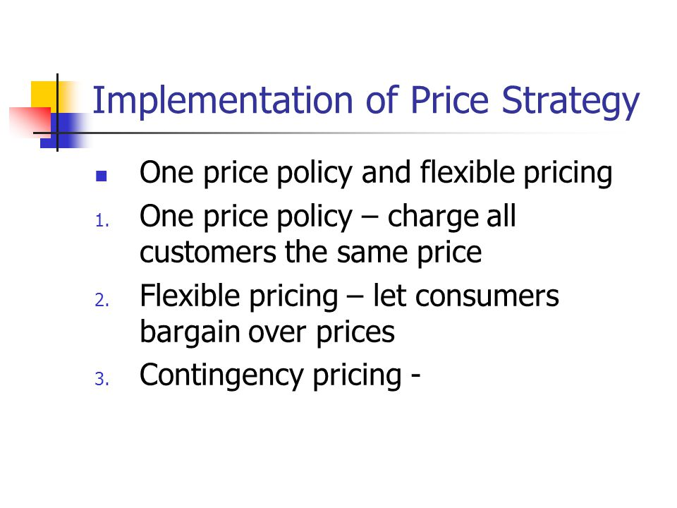 Implementation of Price Strategy