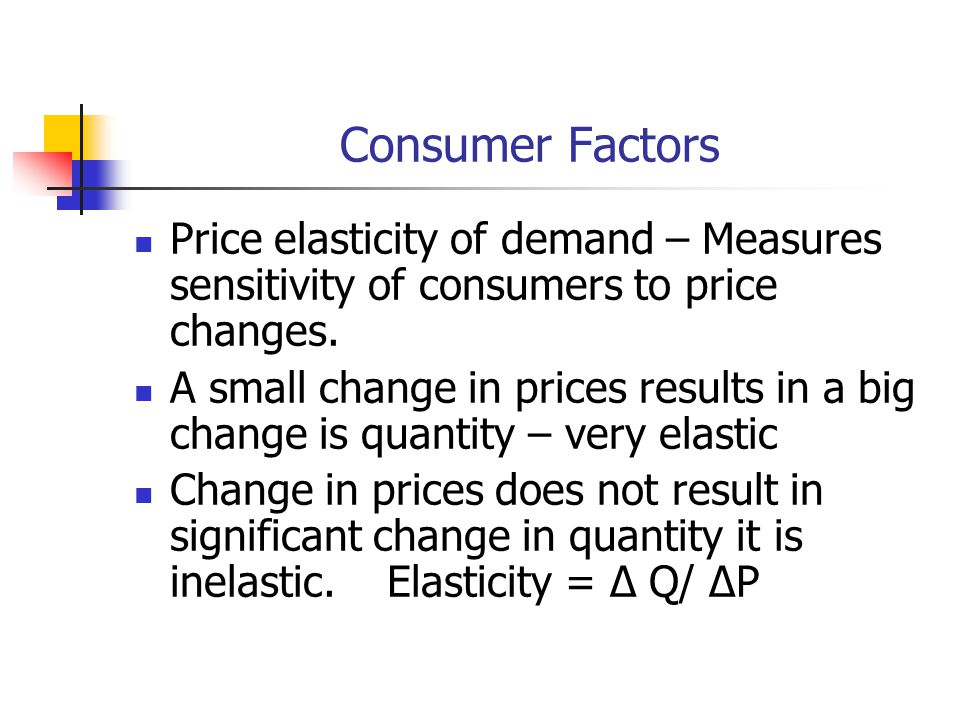 Consumer Factors Price elasticity of demand – Measures sensitivity of consumers to price changes.