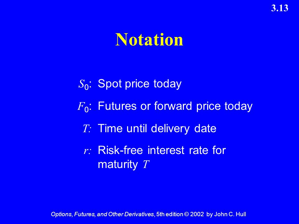 Notation S0: Spot price today F0: Futures or forward price today T: