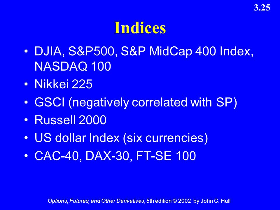 Indices DJIA, S&P500, S&P MidCap 400 Index, NASDAQ 100 Nikkei 225