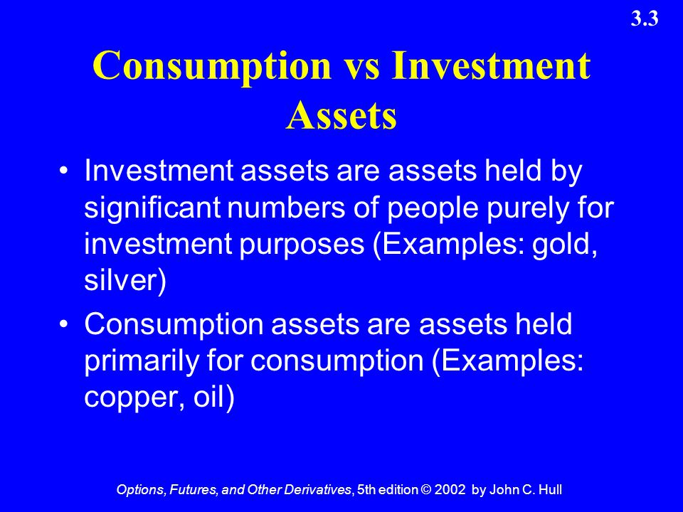 Consumption vs Investment Assets