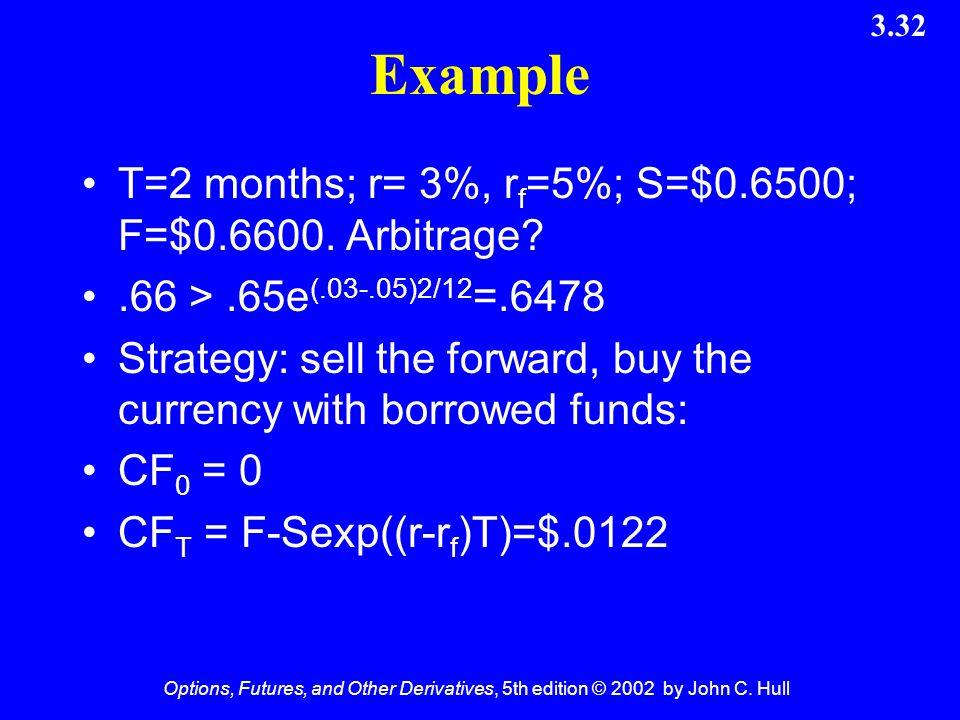 Example T=2 months; r= 3%, rf=5%; S=$0.6500; F=$0.6600. Arbitrage