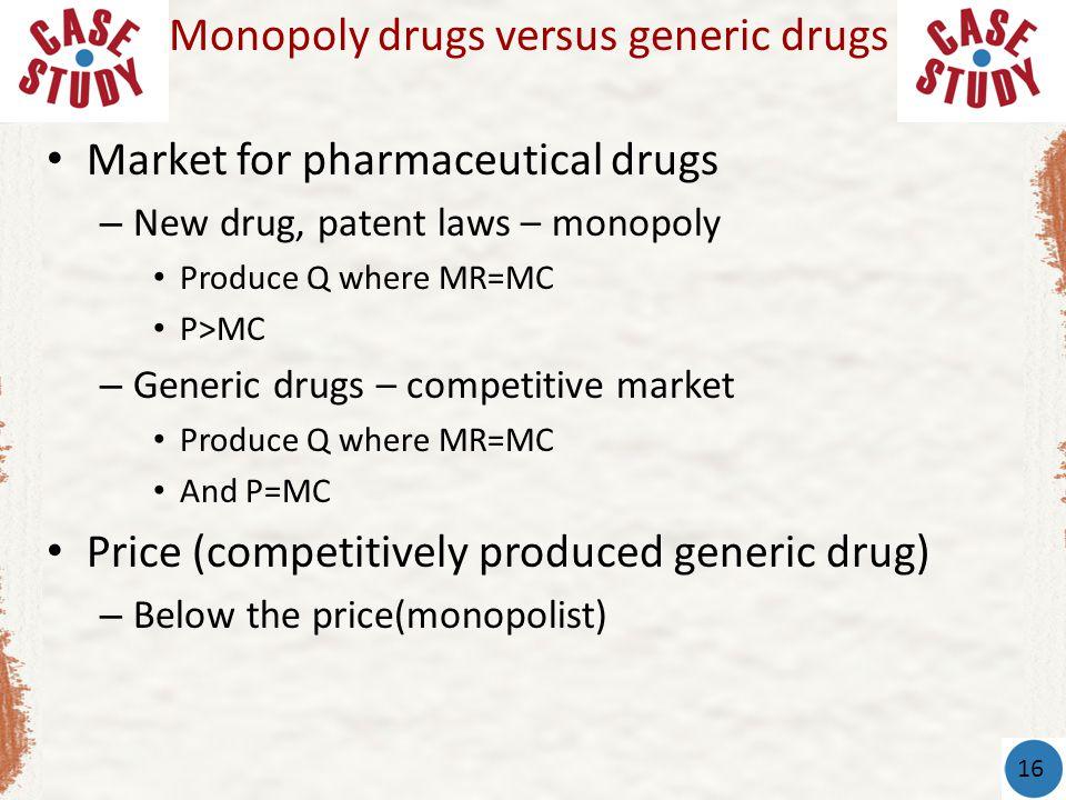 Monopoly drugs versus generic drugs