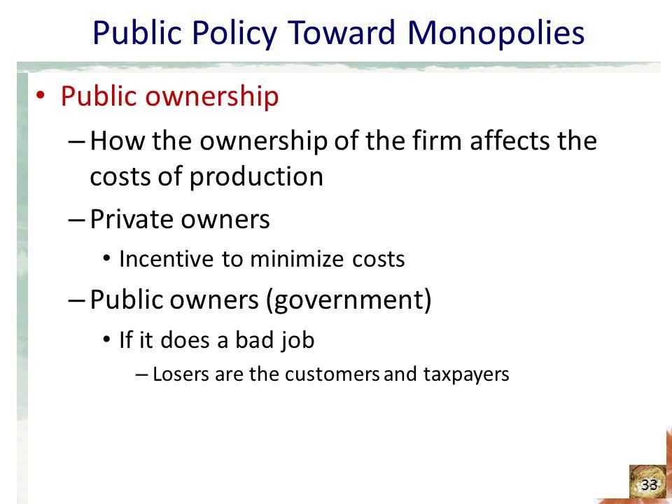 Public Policy Toward Monopolies