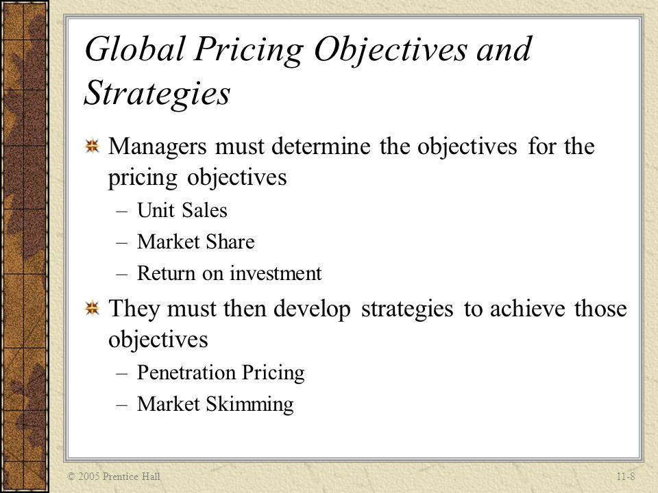 Global Pricing Objectives and Strategies