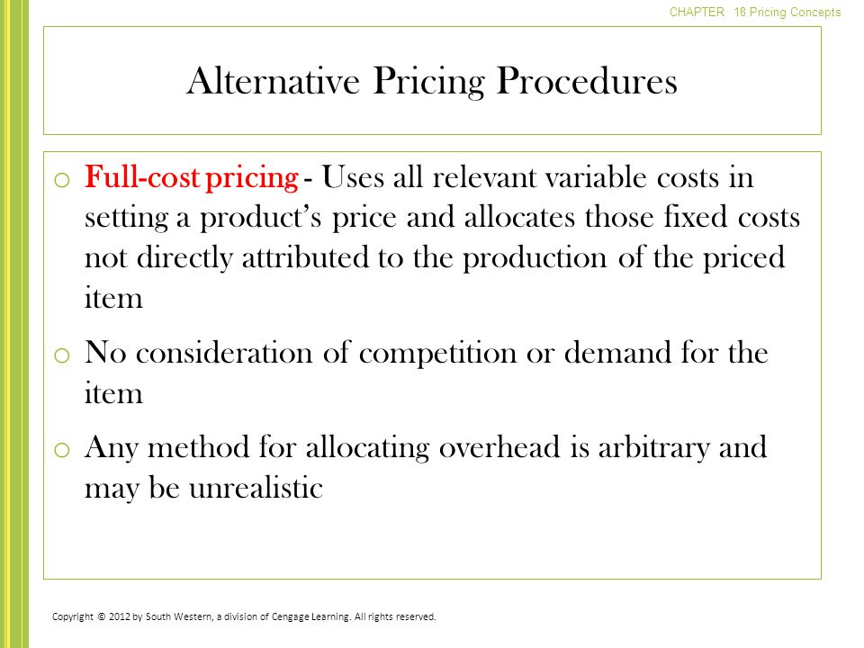Alternative Pricing Procedures