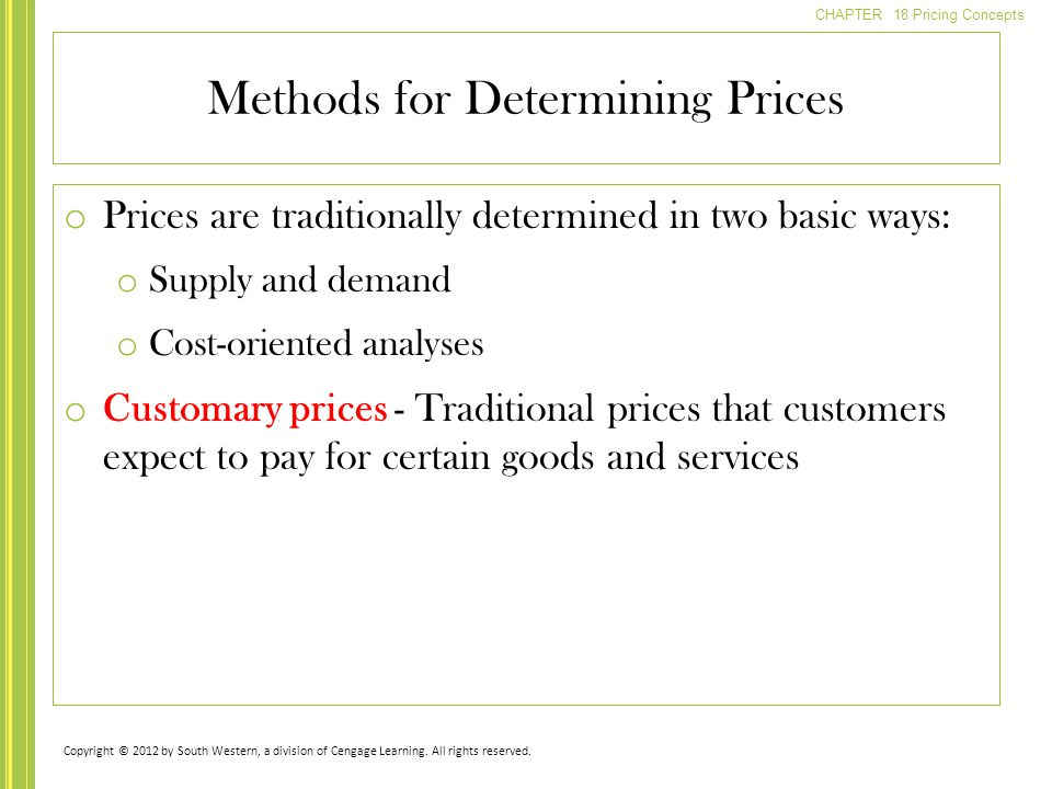 Methods for Determining Prices