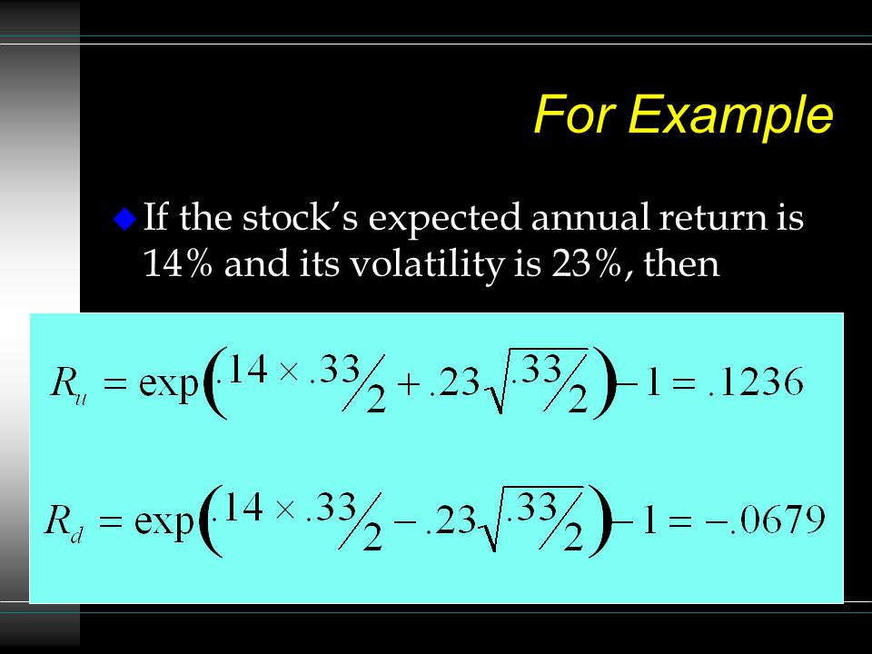 For Example If the stock's expected annual return is 14% and its volatility is 23%, then