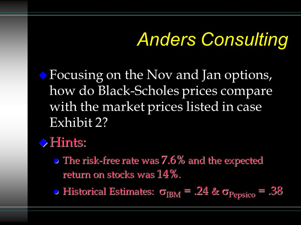Anders Consulting Focusing on the Nov and Jan options, how do Black-Scholes prices compare with the market prices listed in case Exhibit 2