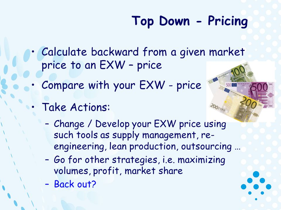 Top Down - Pricing Calculate backward from a given market price to an EXW – price. Compare with your EXW - price.