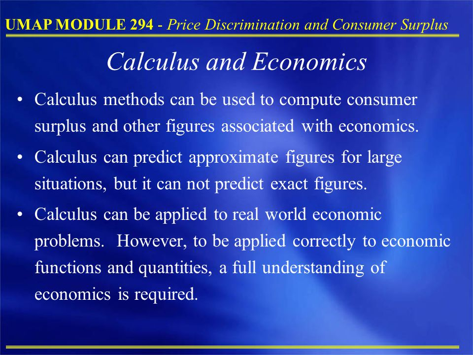 Calculus and Economics