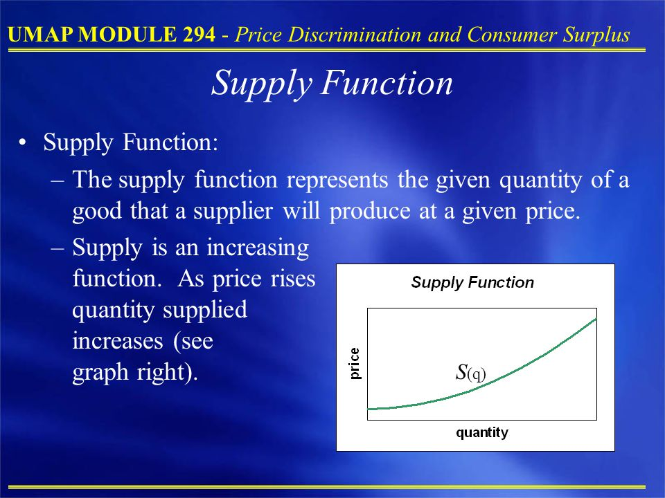 Supply Function Supply Function: