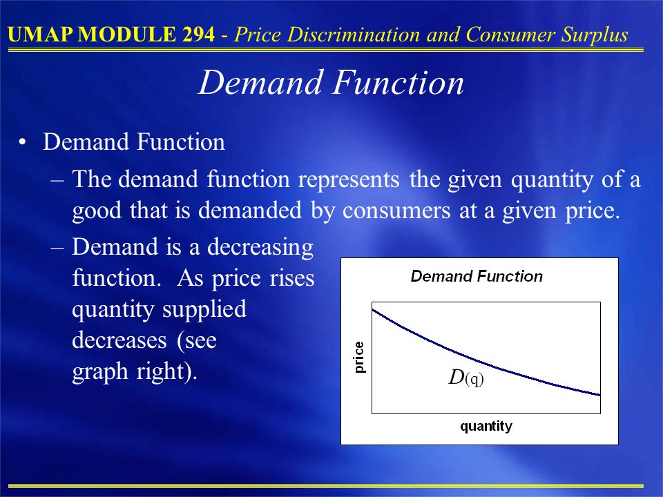 Demand Function Demand Function