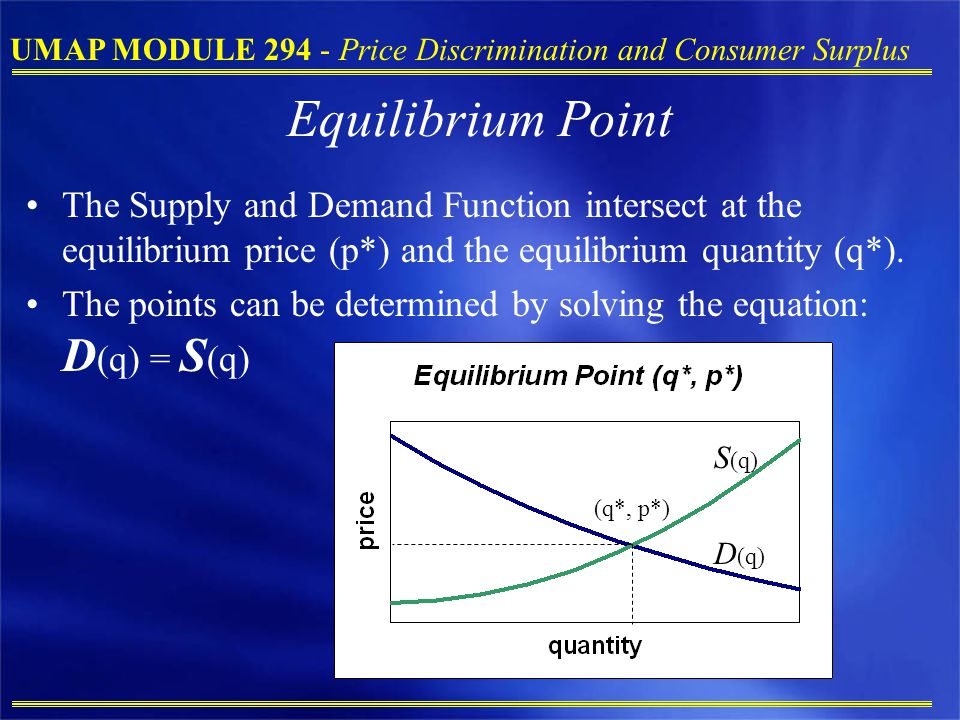 Equilibrium Point The Supply and Demand Function intersect at the equilibrium price (p*) and the equilibrium quantity (q*).