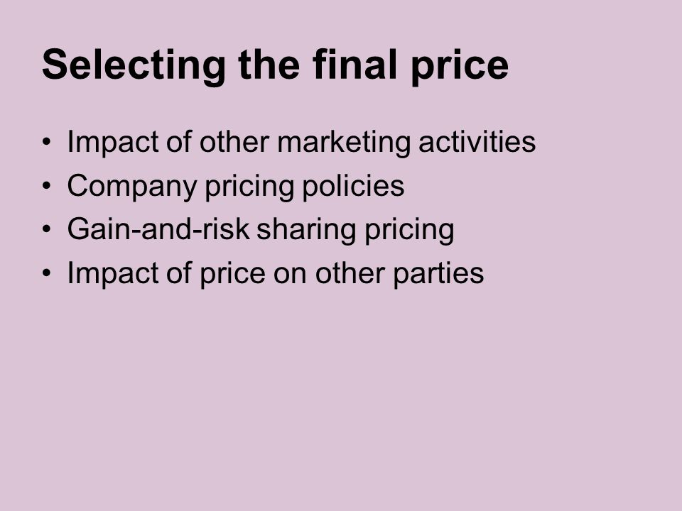 Selecting the final price