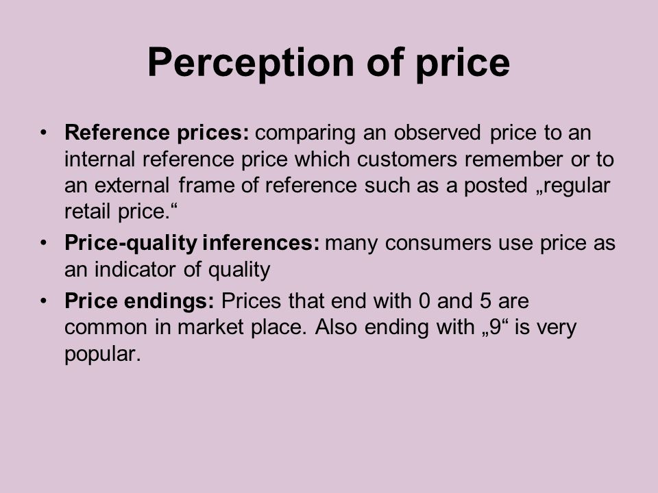 Perception of price