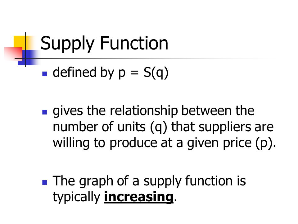 Supply Function defined by p = S(q)
