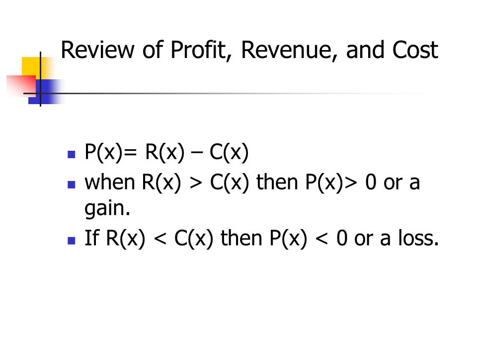 Review of Profit, Revenue, and Cost
