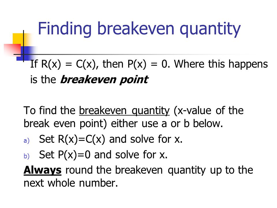 Finding breakeven quantity
