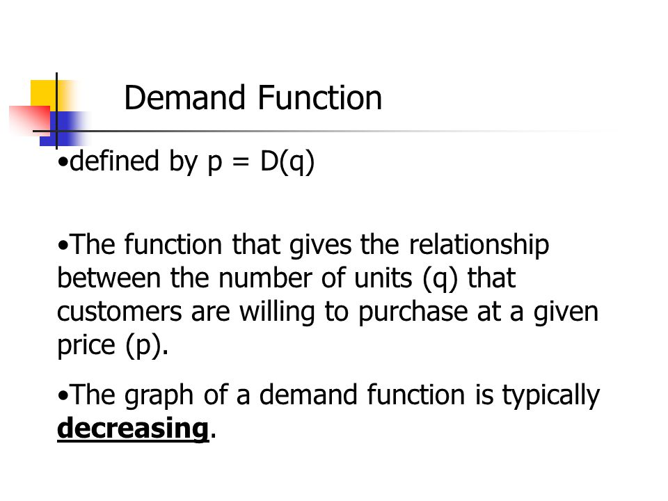 Demand Function defined by p = D(q)