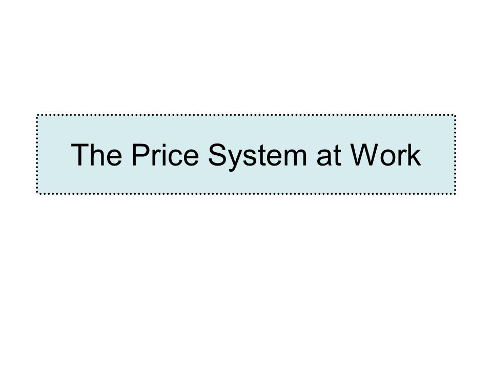 The Price System at Work