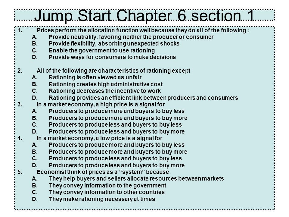 Jump Start Chapter 6 section 1