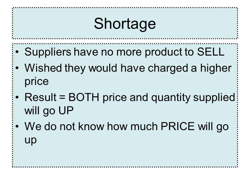 Shortage Suppliers have no more product to SELL