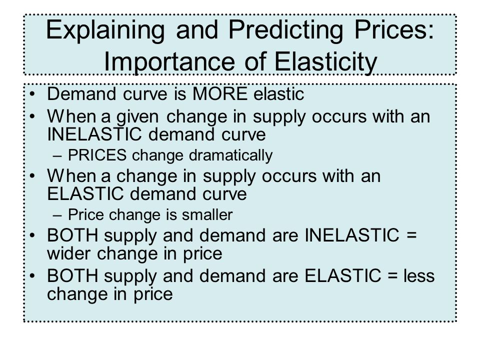 Explaining and Predicting Prices: Importance of Elasticity