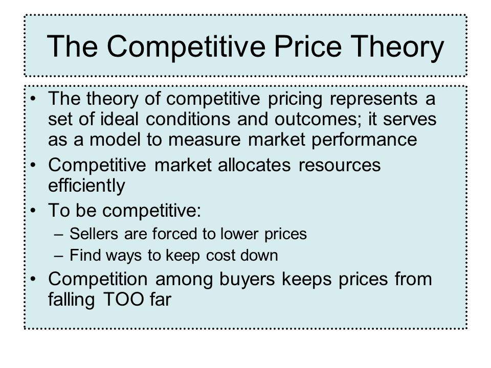 The Competitive Price Theory