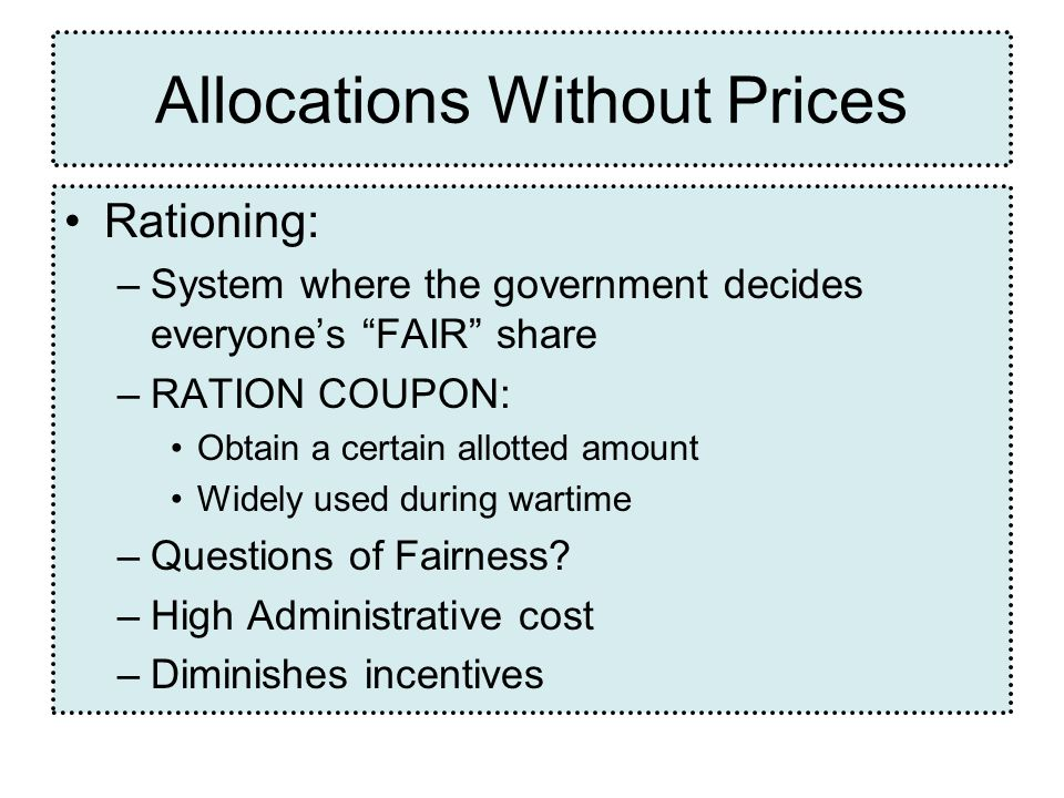 Allocations Without Prices