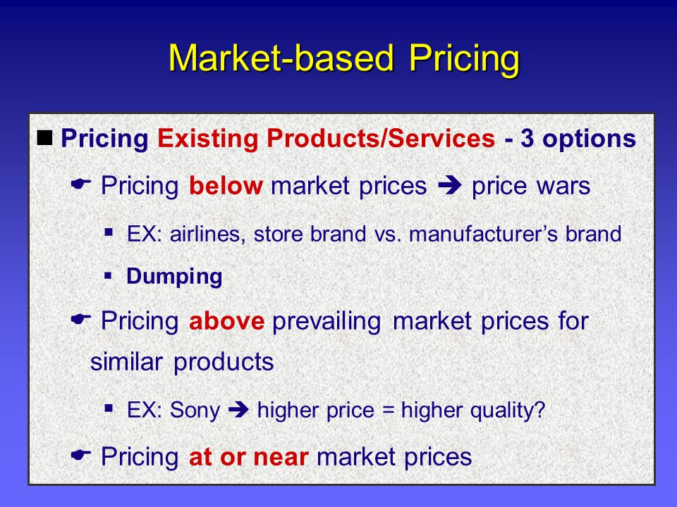 Market-based Pricing Pricing Existing Products/Services - 3 options