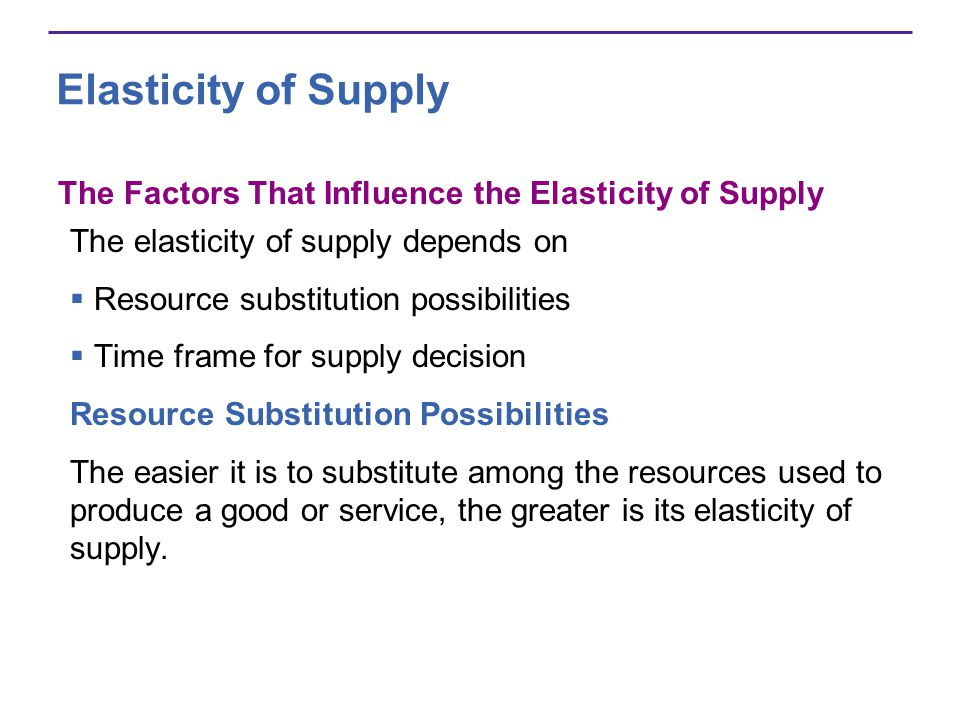 Elasticity of Supply The Factors That Influence the Elasticity of Supply. The elasticity of supply depends on.